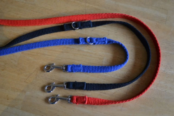 Double ended TTouch Cotton leashes in red, blue and black