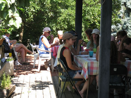 TTouch clinic participants enjoy lunch on the deck.