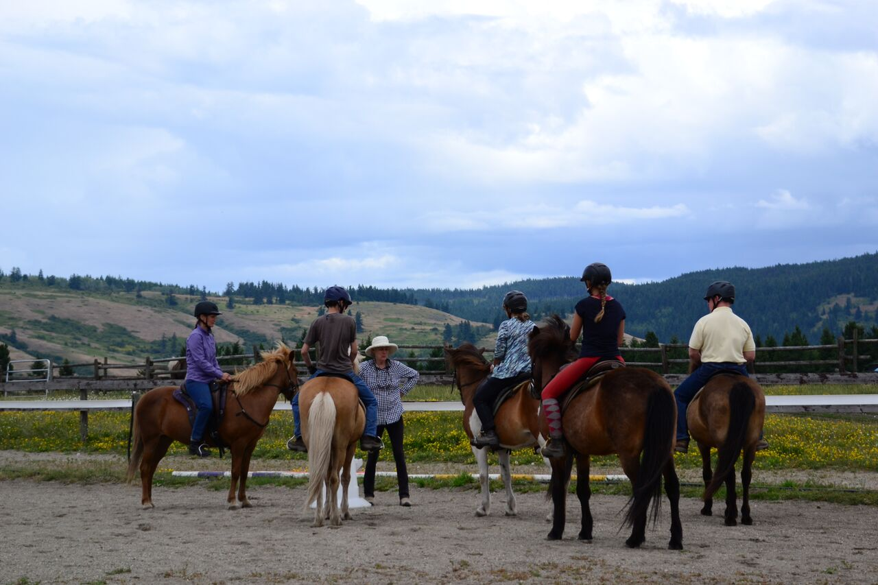 Riding lesson at a Tellington TTOuch clinic for horses.